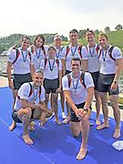 Lucerne, SWITZERLAND. GBR M8+ Silver  medalist  men's lightweight four at the  2012 FISA World Cup II, Lucerne Regatta.  Rotsee  Rowing Course,  Sunday  27/05/2012    [Mandatory Credit Peter Spurrier/ Intersport Images]..Bow, Greg SEARLE, Alex PARTRIDGE, Marcus BATEMAN, Tom RANSLEY, Mo SBIHI, Ric EGINGTON, Matt LANDRIDGE, James FOAD and cox Phelen HILL...