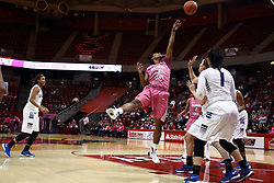 05 February 2016: Octavia Crump(3) offers up an off balanced shot. Illinois State University Women's Redbird Basketball team hosted the Sycamores of Indiana State for a Play4 Kay game at Redbird Arena in Normal Illinois.