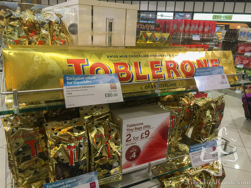 4.5 kg, 80£ block of Toblerone chocolate