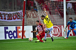 November 8, 2018 - Athens, Attiki, Greece - Daniel Podence (no 56) of Olympiacos attempt under the pressure of Edisson Jordan (no 24) of F91 Dudelange..Olympiacos has won F91 Dudelange 5-1 for the UEFA Europa League. (Credit Image: © Dimitrios Karvountzis/Pacific Press via ZUMA Wire)