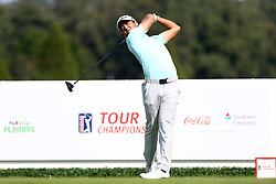 September 22, 2017 - Atlanta, Georgia, United States - Xander Schauffele tees off the 16th hole during the second round of the TOUR Championship at the East Lake Club. (Credit Image: © Debby Wong via ZUMA Wire)