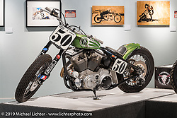 "Pat Patterson's Harley-Davidson Sportster in the ""Built for Speed"" exhibition curated by Michael Lichter and Paul D'Orleans in the Russ Brown Events Center as part of the annual ""Motorcycles as Art"" series at the Sturgis Buffalo Chip during the Black Hills Motorcycle Rally. SD, USA. August 7, 2014.  Photography ©2014 Michael Lichter."