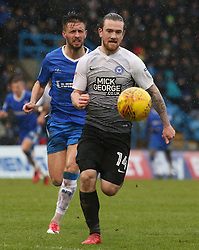 Jack Marriott of Peterborough United in action with Luke O'Neill of Gillingham - Mandatory by-line: Joe Dent/JMP - 10/02/2018 - FOOTBALL - MEMS Priestfield Stadium - Gillingham, England - Gillingham v Peterborough United - Sky Bet League One