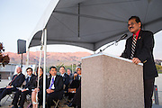 SJECCD Trustee Rudy Nasol presents during the Milpitas Unified School District and San Jose Evergreen Community College District Community College Extension Ground Breaking Ceremony near Russell Middle School in Milpitas, California, on November 17, 2015. (Stan Olszewski/SOSKIphoto)