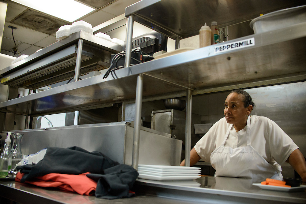 Photo by Matt Roth<br /> Assignment ID: 30144892A<br /> <br /> Faye McConnell is the pantry chef at Shanty Grille in Ellicott City, Maryland Tuesday, July 09, 2013. She is one of nine skilled full time employees who have health insurance through the restaurant.