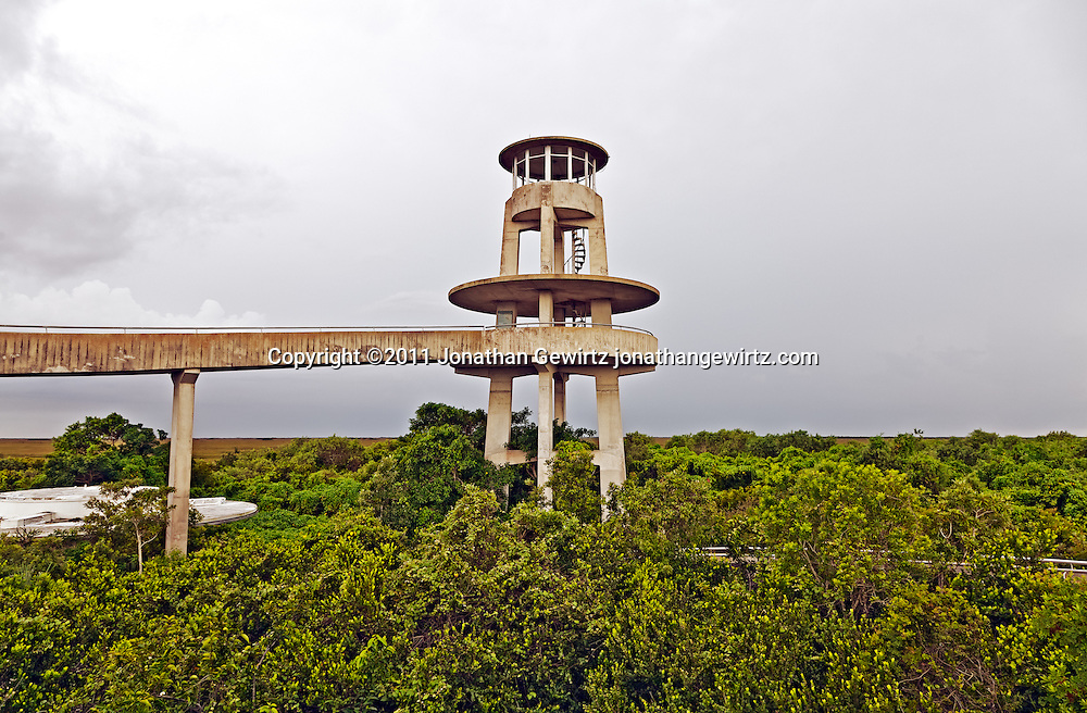The concrete observation tower at Shark Valley, Everyglades National Park, Florida, on a rainy day. WATERMARKS WILL NOT APPEAR ON PRINTS OR LICENSED IMAGES.