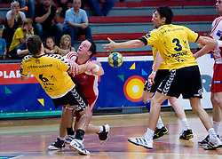 Marko Bezjak vs Rok Terzan of Slovan at handball match of MIK 1st Men league between RD Slovan and RK Gorenje Velenje, on May 16, 2009, in Arena Kodeljevo, Ljubljana, Slovenia. Gorenje won 27:26. (Photo by Vid Ponikvar / Sportida)