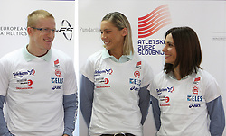 Matic Osovnikar, Snezana Rodic and Marija Sestak at press conference before departure of  Slovenian athletics team to European Athletics Indoor Championships Torino 2009, in Ljubljana, Slovenia, on March 4, 2009. (Photo by Vid Ponikvar / Sportida)