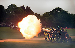© Licensed to London News Pictures. 02/06/2015. London, UK. The King's Troop Royal Horse Artillery stage a 41 Gun Royal Salute in Hyde Park, London to mark the 62nd anniversary of the coronation of Queen Elizabeth II. Photo credit: Ben Cawthra/LNP