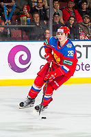 KELOWNA, BC - DECEMBER 18: Alexander Romanov #26 of Team Russia skates with the puck against Team Sweden at Prospera Place on December 18, 2018 in Kelowna, Canada. (Photo by Marissa Baecker/Getty Images)***Local Caption***