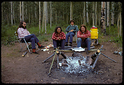 Our Campsite in Gunnison National Forest, Agate Creek Campground. 15 July 1973. Nikon Ftn Camera: Kodachrome II film,  35mm f/2 Nikkor lens.