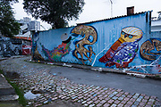Painted murals in the district of Vila Madalena , Sao Paulo city