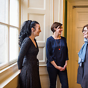 Artists Aideen Barry, Sarah Pierce and  Grace Weir at the launch of IMMA 1000. Photography by Ruth Medjber