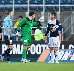 Dundee's keeper Kyle Letheren rbings down Falkirk's Rory Loy for a penalty and gets a red card.<br /> Falkirk 2 v 0 Dundee, Scottish Championship game at The Falkirk Stadium.<br /> © Michael Schofield.