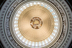 Interior of Rotunda, completed 1865, 180 ft. high, capped by the Apotheosis of Washington, a fresco by Constantino Brumidi, U.S. Capitol, Washington D.C. (District of Columbia), United States