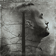 Monochrome double exposure made with my own images and textures