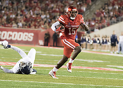 September 16, 2017 - Houston, TX, USA - Houston Cougars wide receiver Linell Bonner (15) carries the ball during the second quarter of the college football game between the Houston Cougars and the Rice Owls at TDECU Stadium in Houston, Texas. (Credit Image: © Scott W. Coleman via ZUMA Wire)