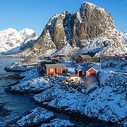 Road Reine-Sakrisøya Island, Lofoten, Norway, Europe