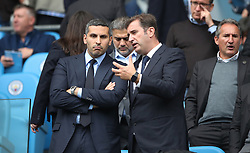 Manchester City chairman Khaldoon Al Mubarak (left) and CEO Ferran Soriano in the stands before the game