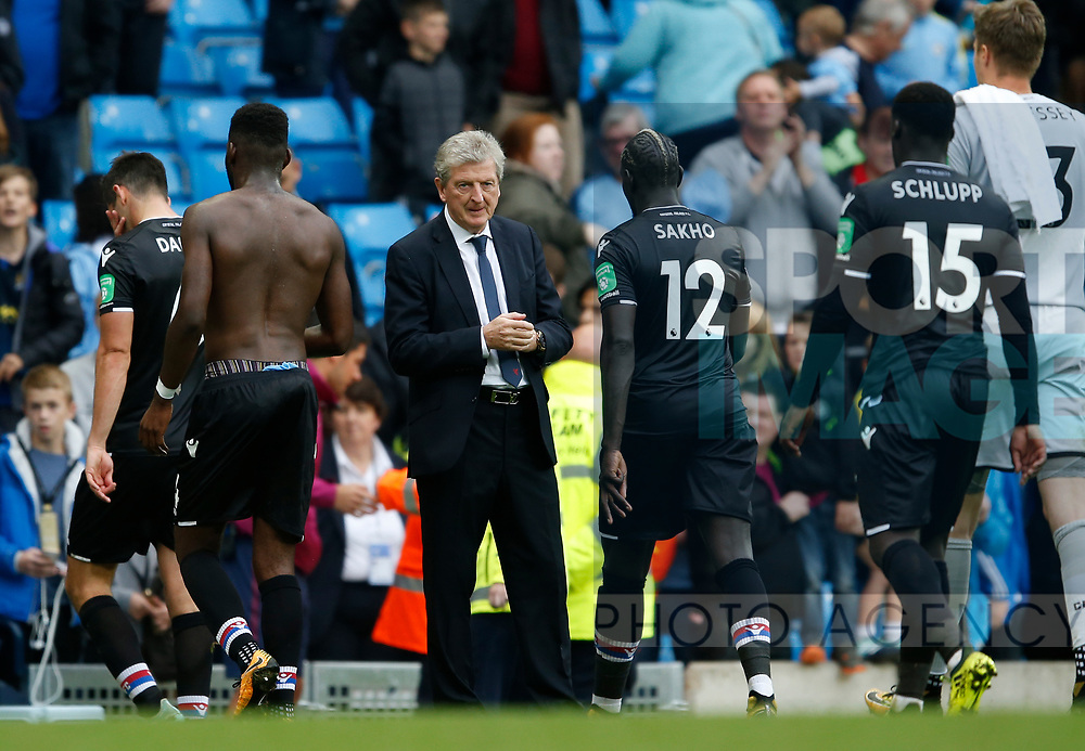 Roy Hodgson manager of Crystal Palace watches his players troop off to a 5-0 loss during the premier league match at the Etihad Stadium, Manchester. Picture date 22nd September 2017. Picture credit should read: Simon Bellis/Sportimage