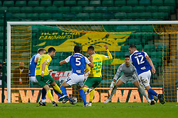 Mario Vrancic of Norwich City scores the only goal of the game to make it 1-0 Norwich City - Mandatory by-line: Phil Chaplin/JMP - 20/10/2020 - FOOTBALL - Carrow Road - Norwich, England - Norwich City v Birmingham City - Sky Bet Championship