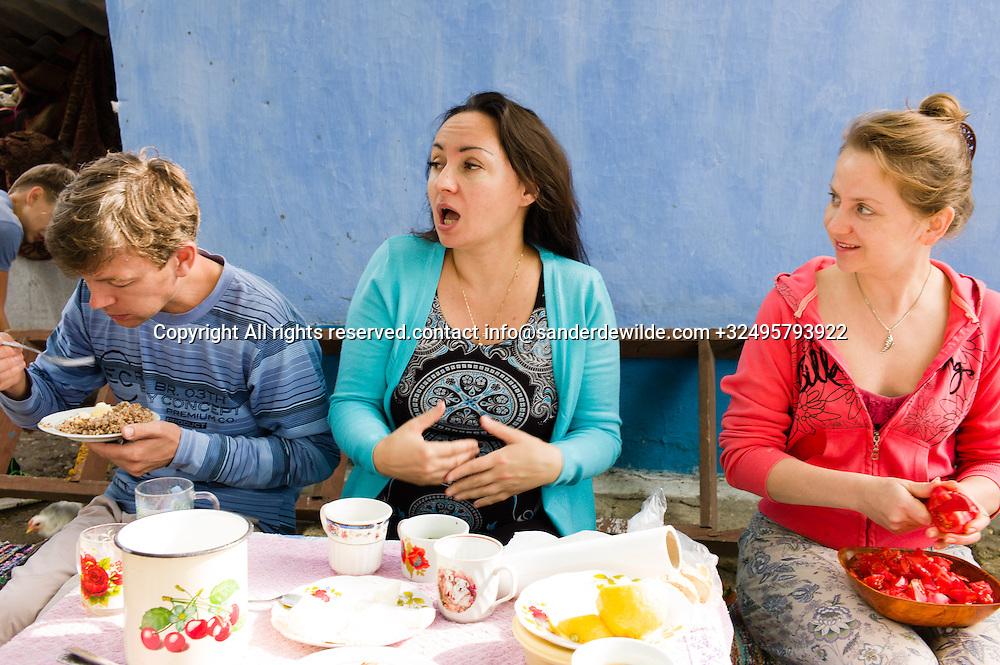 20150823  Moldova Tipova Monaastry. Elena and friends do a ceremony in the cave monastry of Tipva
