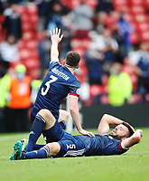 UEFA Euro 2020 Championship Group D match between Scotland v Czech Republic Hampden Park on June 14, 2021 in Glasgow, Scotland<br /> <br /> Scotland captain Andy Robertson calls for the attention of the medical staff with Grant Hanley down injured.<br /> <br /> Credit: COLORSPORT/Ian MacNicol