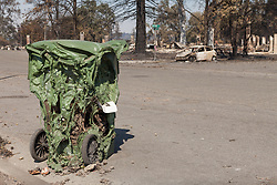 A melted trash bin sits in the burned out neighborhood of Coffey Park, in Santa Rosa, California