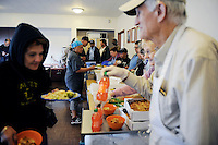 The lunch line at the First Methodist Church program in Salinas, California, which provides meals, counseling resources and occasional shelter to many who have nowhere else to go.