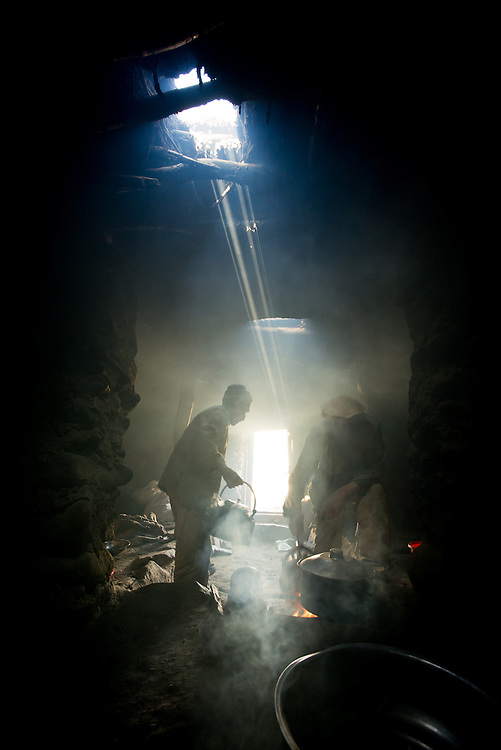 A shepherd's hut gives shelter from the snow outside, if you can stand the acrid yak-dung fuelled fire smoke.