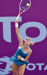 DOHA, Feb. 13, 2019  Anett Kontaveit of Estonia serves during the single's first round match against Zhu Lin of China at the 2019 WTA Qatar Open in Doha, Qatar, on Feb. 12, 2019. Anett Kontaveit won 2-0. (Credit Image: © Yangyuanyong/Xinhua via ZUMA Wire)
