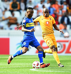 Cape Town-180915-  Cape Town City  midfielder Teko Modise challenged by Kaizer Chiefs midfielder Willard Katsande  in the ABSA Premiership clash at the cape Town Stadium.City are trying to keep winning their home games and their position on the log.Photographs:Phando Jikelo/African News Agency/ANA