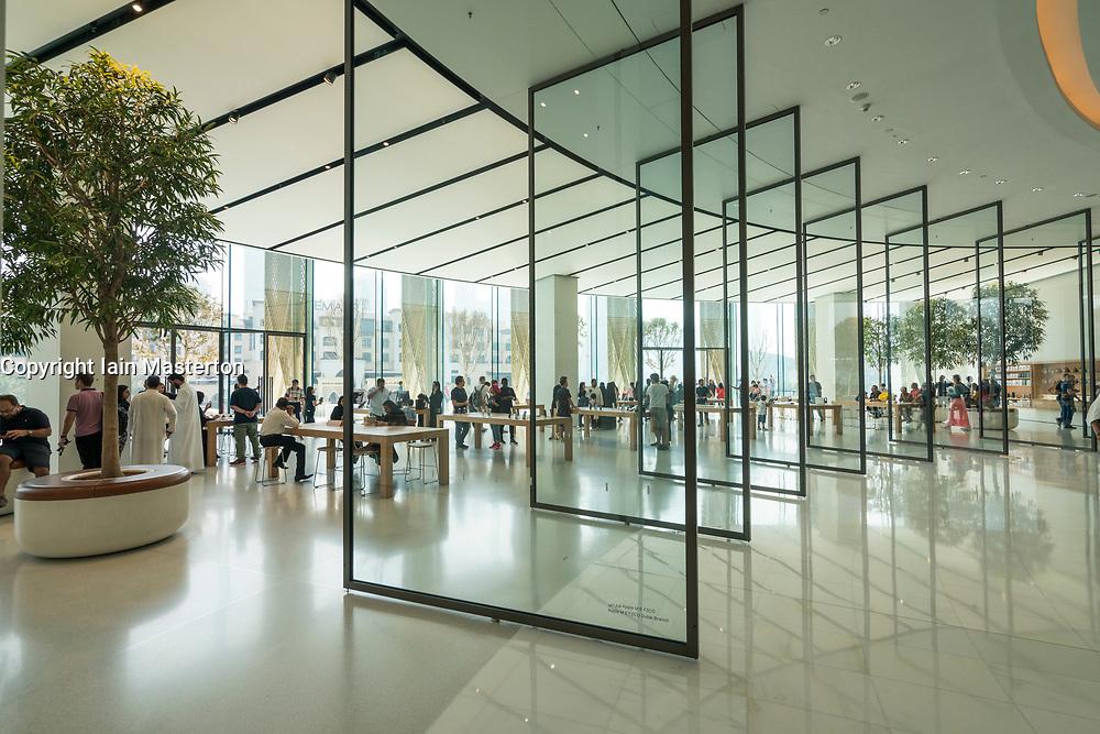 Interior of the new Apple Store in the Dubai Mall in Dubai, United Arab Emirates.
