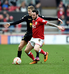 Lee Tomlin of Bristol City is fouled by Josh Vela of Bolton Wanderers  - Mandatory byline: Joe Meredith/JMP - 19/03/2016 - FOOTBALL - Ashton Gate - Bristol, England - Bristol City v Bolton Wanderers - Sky Bet Championship