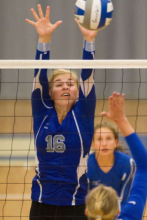 Sarah Arvidson, of Colby College, during an NCAA Division III volleyball match against Maine Maritime Academy at The Whitmore-Mitchell at Wadsworth Gymnasium, Saturday Sep. 6, 2014 in Waterville, ME.  (Dustin Satloff/Colby College Athletics)