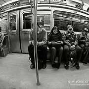 Inside one of the Subway trains of NYC
