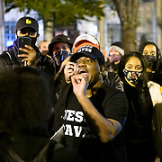 Protesters participate in a heated conversation about religion at BLM plaza in Washington DC, November 3, 2020. Thousands gathered around DC as results of the election are broadcasted.