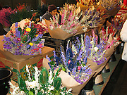 Flower bouquets for sale at Pike Street Public Market Center and Farmers Market, in downtown Seattle, Washington, USA.