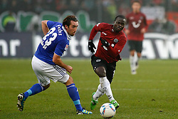 06.11.2011, AWD-Arena, Hannover, GER, 1.FBL, Hannover 96 vs FC Schalke 04, im Bild  Didier Ya Konan (Hannover #11) und  Christian Fuchs (Schalke #23) .// during the match from GER, 1.FBL, Hannover 96 vs  FC Schalke 04 on 2011/11/06, AWD-Arena, Hannover, Germany. .EXPA Pictures © 2011, PhotoCredit: EXPA/ nph/  Schrader       ****** out of GER / CRO  / BEL ******