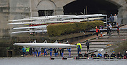 Putney. London,  Boat 280, Newcastle University boating from Tideway Scullers Boathouse and slipway. 2015  Head of the River Race. Championship Course Putney to Mortlake.  ENGLAND. <br /> <br /> Sunday   29/03/2015<br /> <br /> [Mandatory Credit; Intersport-images]