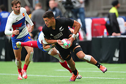 March 9, 2019 - Vancouver, BC, U.S. - VANCOUVER, BC - MARCH 09:  Tone Ng Shiu (3) of New Zealand runs the ball against France during day 1 of the 2019 Canada Sevens Rugby Tournament on March 9, 2019 at BC Place in Vancouver, British Columbia, Canada. (Photo by Devin Manky/Icon Sportswire) (Credit Image: © Devin Manky/Icon SMI via ZUMA Press)