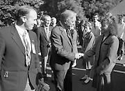 Charles Haughey Visits The Community Games. (T5)..1989..03.10.1989..10.03.1989..3rd September 1989..An Taoiseach, Charles Haughey TD,accompanied by Mr Frank Fahey, TD, Minister of State with responsibility for Youth and Sport attended the Twentieth National Finals of the Community Games at Mosney,  Co.Meath yesterday...Picture shows An Taoiseach, Charles Haughey TD, being greeted by a young Games Hostess on his arrival at Mosney.