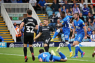 Peterborough United midfielder Siriki Dembele (10) sees his last gasp shot saved during the EFL Sky Bet League 1 match between Peterborough United and Portsmouth at London Road, Peterborough, England on 15 September 2018.