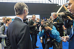 © Licensed to London News Pictures . 02/10/2017. Manchester, UK. JACOB REES-MOGG surrounded by media at the conference . The second day of the Conservative Party Conference at the Manchester Central Convention Centre . Photo credit: Joel Goodman/LNP