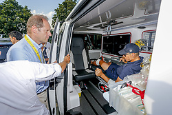 July 24, 2018 - Bagneres De Luchon, France - BAGNERES-DE-LUCHON, FRANCE - JULY 24 : PRUDHOMME Christian (FRA) Director of ASO and GILBERT Philippe (BEL) of Quick - Step Floors during stage 16 of the 105th edition of the 2018 Tour de France cycling race, a stage of 218 kms between Carcassonne and Bagneres-De-Luchon on July 24, 2018 in Bagneres-De-Luchon, France, 24/07/18 (Credit Image: © Panoramic via ZUMA Press)