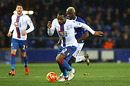 Jason Puncheon of Crystal Palace looks to get away from Arouna Kone of Everton. Barclays Premier league match, Everton v Crystal Palace at Goodison Park in Liverpool, Merseyside on Monday 7th December 2015.<br /> pic by Chris Stading, Andrew Orchard sports photography.