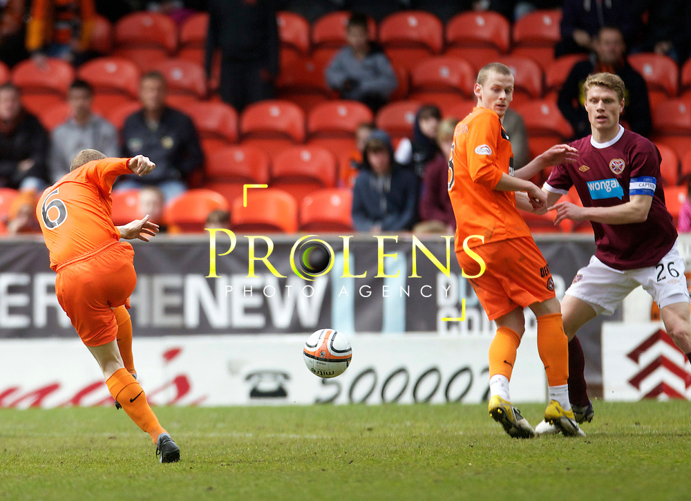 SPL Dundee United FC v  Hearts FC Scottish Premier League Season 2011-12.28-04-12...   Dundee United's Willo Flood opens the scoring    during the Scottish premier League clash between Euro spot chasing Dundee United FC and Heart of Midlothian FC...At Tannadice Stadium, Dundee..Saturday 28th April 2012.Picture Mark Davison/ Prolens Photo Agency / PLPA