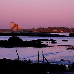 Kittery, ME. Fort Foster, historic fort.  Piscataqua River. Full moon.