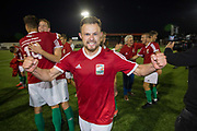 Alex Svedjuk and team mates celebrate following a 4 - 2 victory for Karpatalya red against Szekely Land blue during the Conifa Paddy Power World Football Cup semi finals on the 7th June 2018 at Carshalton Athletic Football Club in the United Kingdom. The CONIFA World Football Cup is an international football tournament organised by CONIFA, an umbrella association for states, minorities, stateless peoples and regions unaffiliated with FIFA.