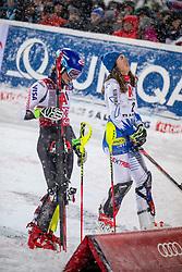 08.01.2019, Hermann Maier Weltcupstrecke, Flachau, AUT, FIS Weltcup Ski Alpin, Slalom, Damen, 2. Lauf, im Bild v.l. Mikaela Shiffrin (USA, 2. Platz), Petra Vlhova (SVK, 1. Platz) // f.l. second placed Mikaela Shiffrin of the USA race winner Petra Vlhova of Slovakia reacts after her 2nd run of ladie's Slalom of FIS ski alpine world cup at the Hermann Maier Weltcupstrecke in Flachau, Austria on 2019/01/08. EXPA Pictures © 2019, PhotoCredit: EXPA/ Johann Groder